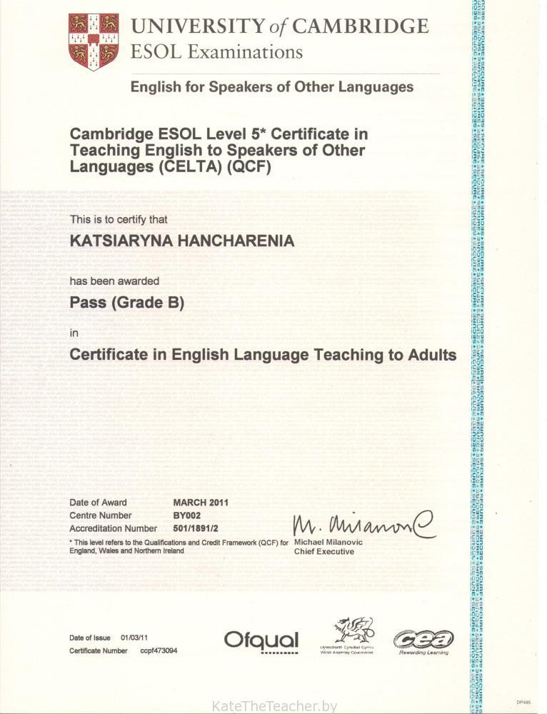 CELTA certificate